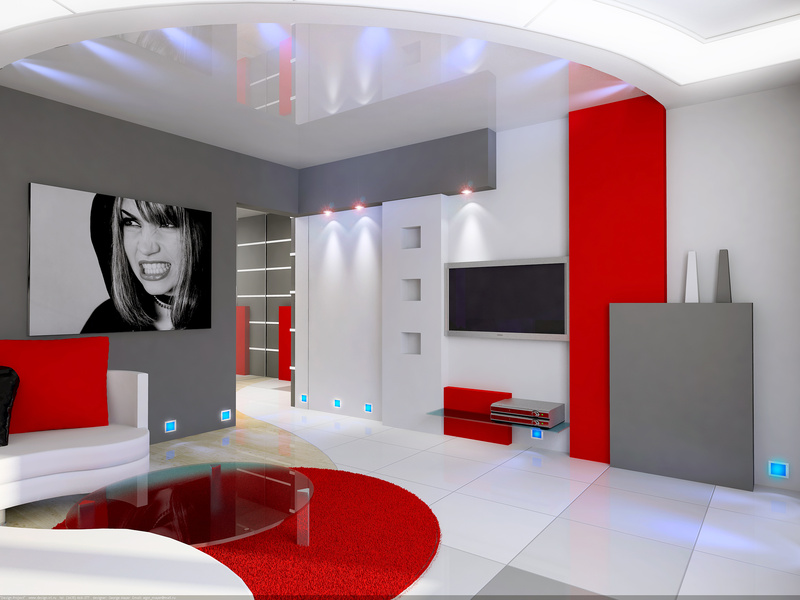 Deco salon gris blanc rouge - Idee deco salon design ...