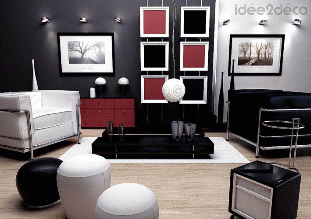 Photo deco salon gris blanc rouge