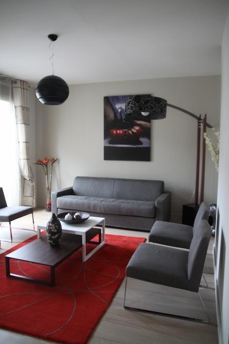 deco salon gris blanc rouge. Black Bedroom Furniture Sets. Home Design Ideas