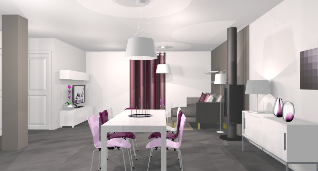 Deco salon gris blanc violet for Deco salon noir blanc violet