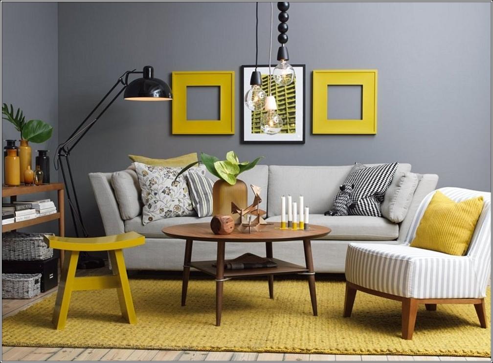idée deco salon gris et jaune