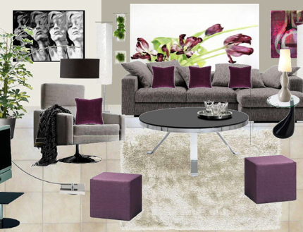 D coration salon gris et prune for Deco sejour prune