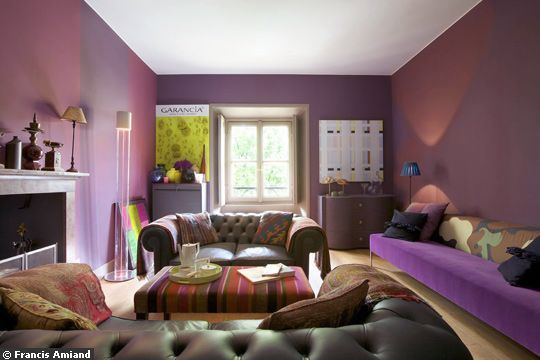 Deco salon gris et prune - Couleur prune et gris ...
