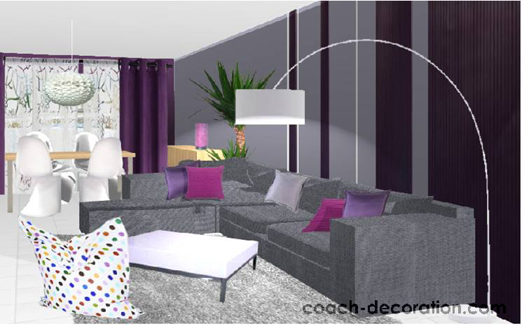 deco salon gris et prune