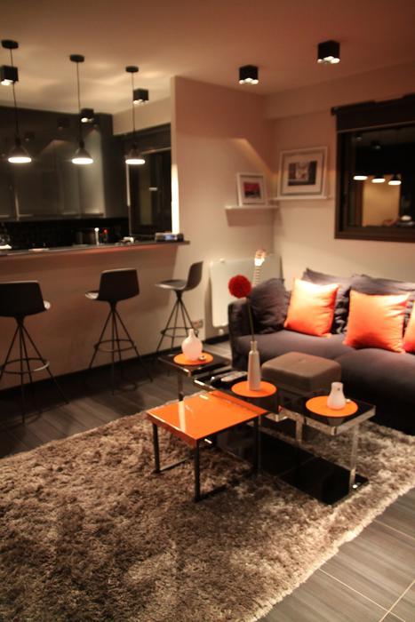 Photo deco salon marron et orange - Photo Déco