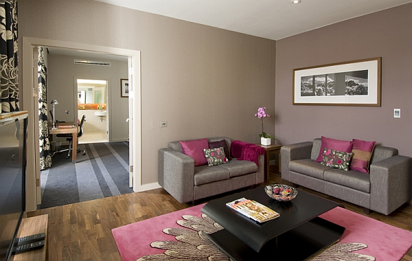 Photo deco salon marron et rose - Photo Déco
