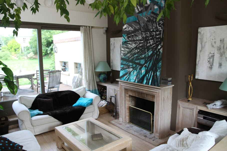 exemple deco salon marron turquoise