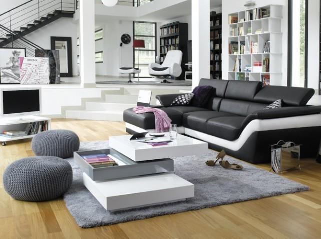 aménagement deco salon moderne noir et blanc