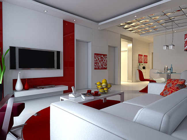 Deco salon moderne rouge for Modele deco salon moderne
