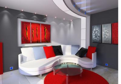 Photo deco salon noir et blanc rouge