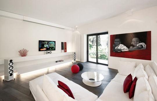 deco salon noir et blanc rouge. Black Bedroom Furniture Sets. Home Design Ideas