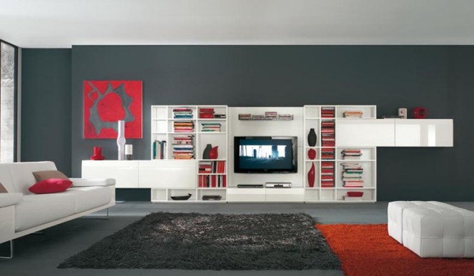 deco salon blanc gris et rouge. Black Bedroom Furniture Sets. Home Design Ideas