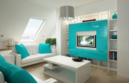 modèle deco salon noir et blanc turquoise