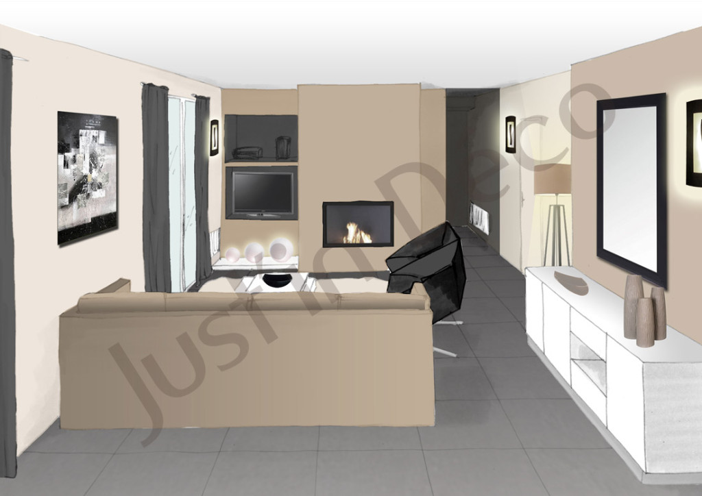 D co salon taupe et noir for Decoration salon blanc beige taupe