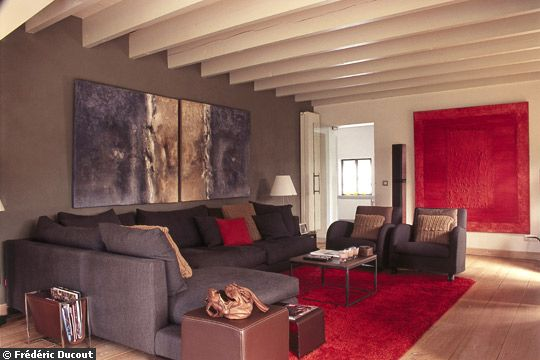deco salon taupe et rouge. Black Bedroom Furniture Sets. Home Design Ideas