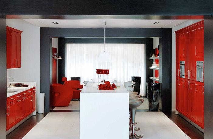 decoration cuisine moderne rouge. Black Bedroom Furniture Sets. Home Design Ideas