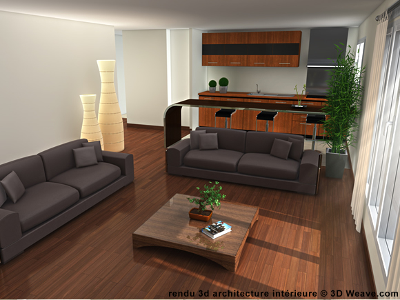 Decoration interieur salon cuisine for Logiciel salon 3d