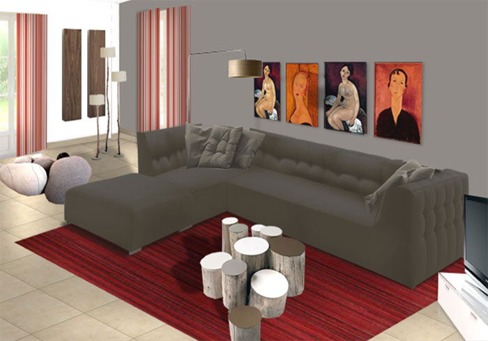 Decoration interieur salon moderne for Modele deco salon