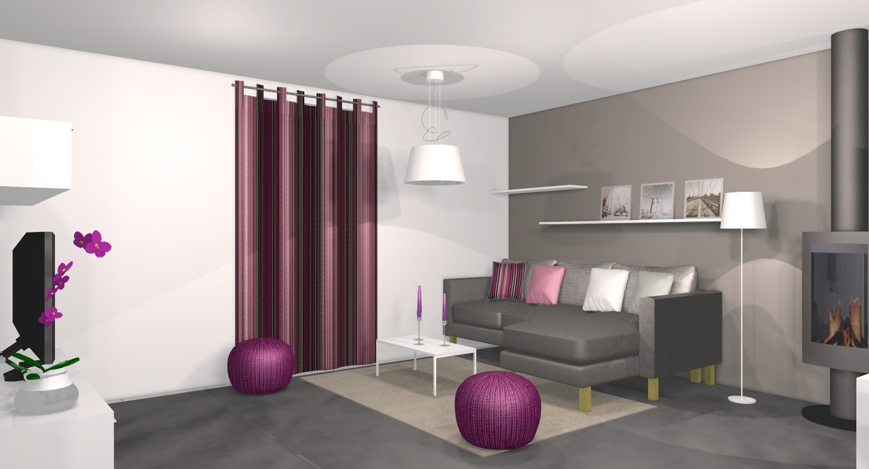 decoration salon noir blanc fushia. Black Bedroom Furniture Sets. Home Design Ideas