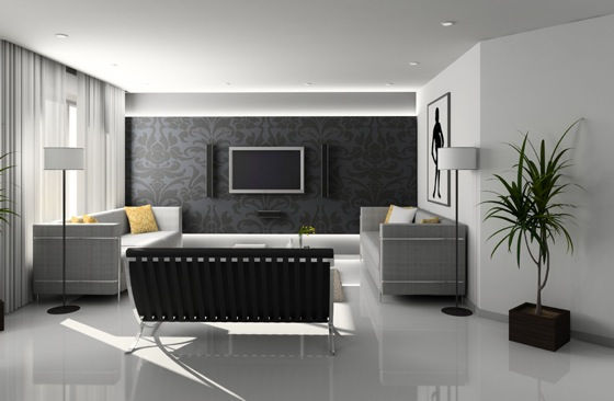 decoration salon moderne gris. Black Bedroom Furniture Sets. Home Design Ideas