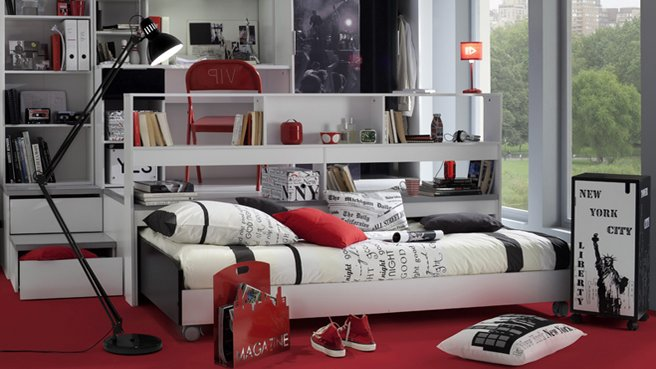 id e d co chambre ado gar on theme new york. Black Bedroom Furniture Sets. Home Design Ideas