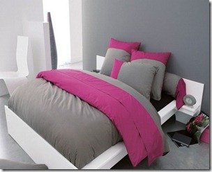 id e d co chambre adulte gris et rose. Black Bedroom Furniture Sets. Home Design Ideas