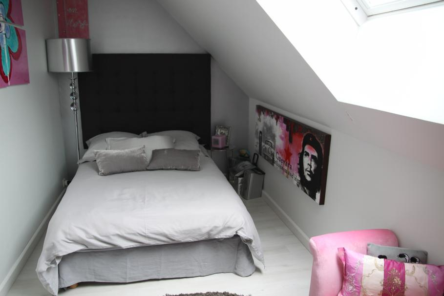 modèle idée déco chambre adulte gris et rose - Photo Déco