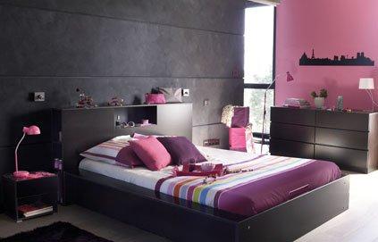 idée déco chambre adulte gris et rose