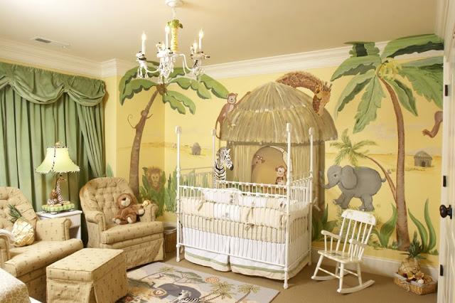 modèle idée décoration chambre bébé jungle