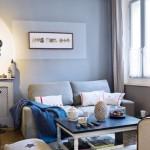 idée deco salon gris et bleu