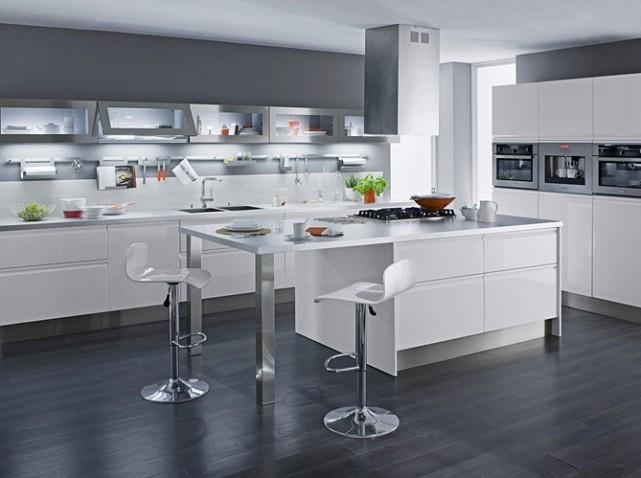 Jolie idee deco cuisine blanc et gris