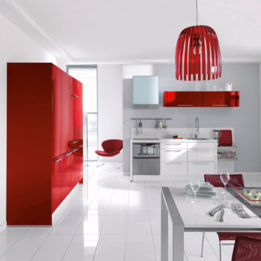 Idee deco cuisine blanc et rouge - Deco cuisine rouge et blanc ...