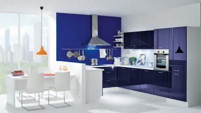 amnagement idee deco cuisine blanche et bleu