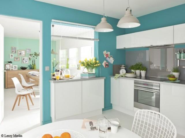 organisation idee deco cuisine blanche et bleu - Photo Déco