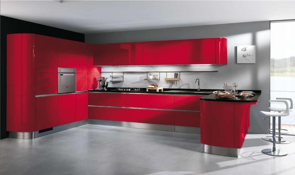 belle idee deco cuisine blanche et rouge