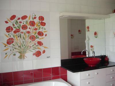 carrelage salle de bain rouge et blanc - Faience Cuisine Rouge Et Blanc