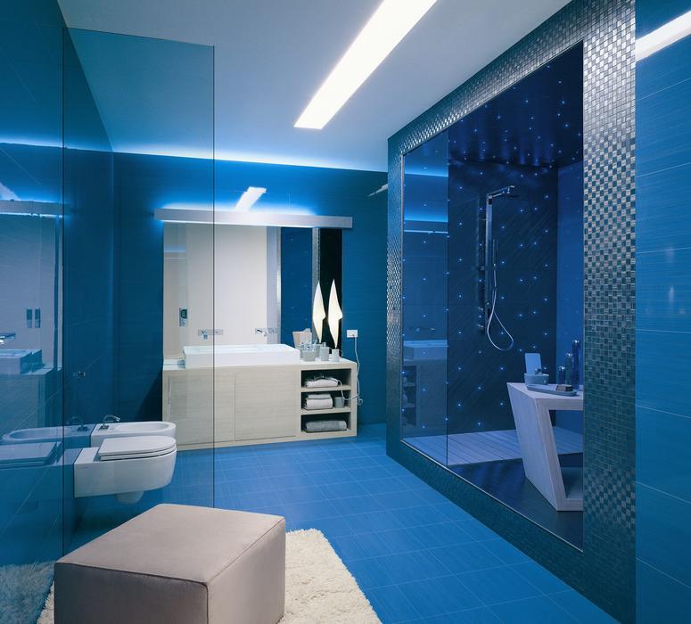 modèle déco salle de bain bleu et gris - Photo Déco