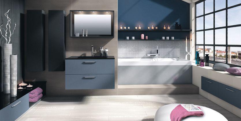 déco salle de bain gris et bleu