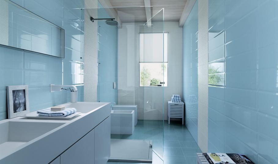 Salle De Bain Bleue Et Blanche : Déco salle de bain bleu et gris