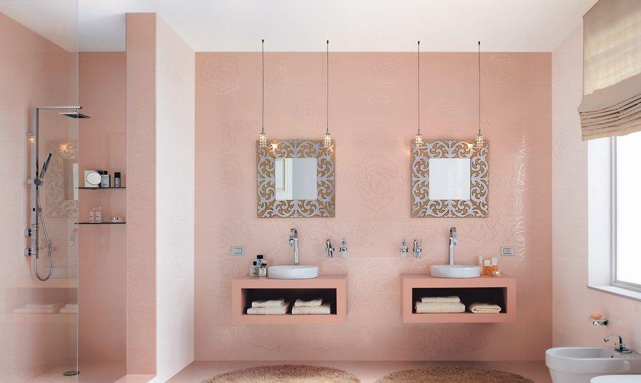 organisation déco salle de bain gris et rose