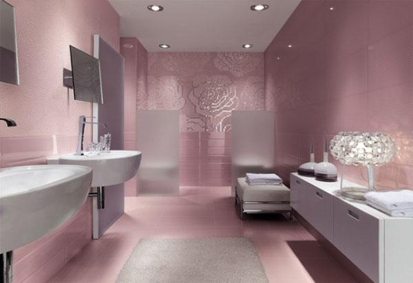 Jolie déco salle de bain gris et rose