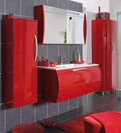d co salle de bain rouge et gris. Black Bedroom Furniture Sets. Home Design Ideas