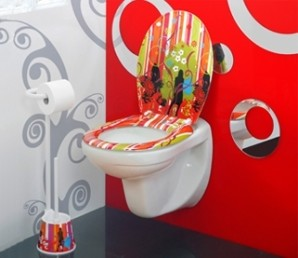 D co toilettes gris et rouge - Decoration toilette gris ...