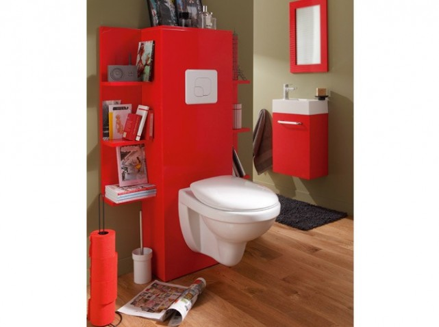 D co wc gris et rouge for Photo deco wc