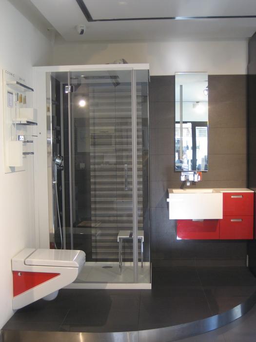 décoration salle de bain rouge et gris
