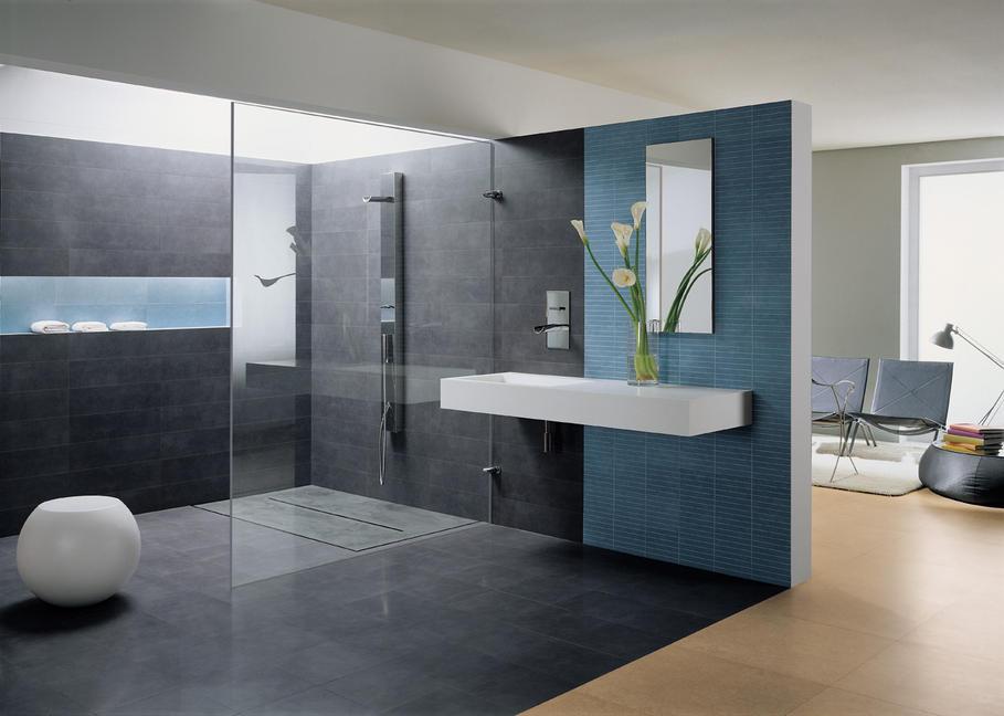 Photo deco salle de bain bleu et marron - Photo Déco
