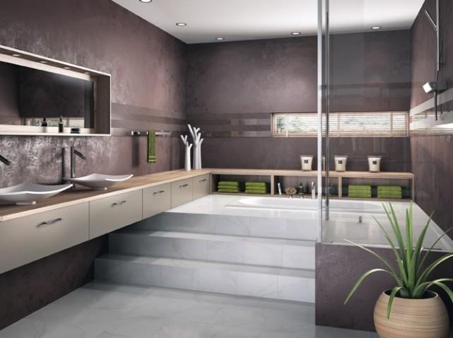 salle de bain bleue et beige p o deco salle de bain bleu et vert - Carrelage Salle De Bain Marron Et Vert