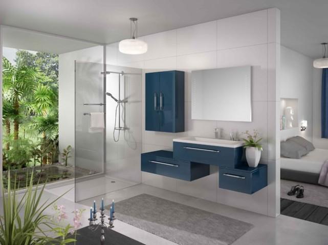 aménagement deco salle de bain bleu marine et blanc