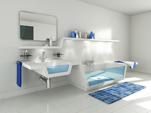 photo decoration deco salle de bain bleu marine et blanc. Black Bedroom Furniture Sets. Home Design Ideas