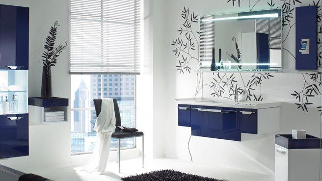 Salle De Bain Bleue Et Blanche : Deco salle de bain bleu marine et blanc